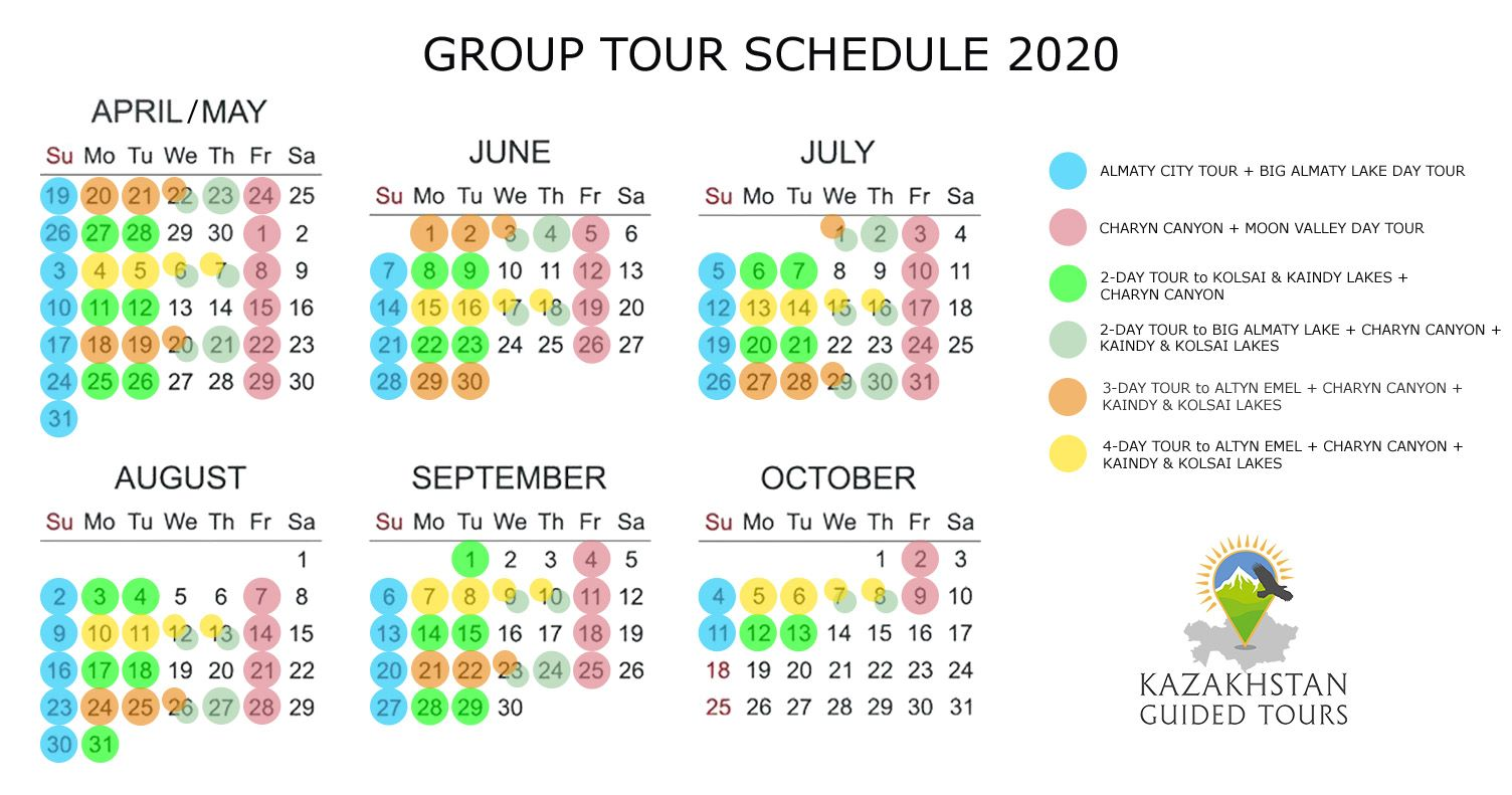 Group tour schedule 2020